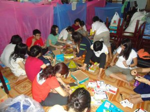 Everyone was preparing gifts for children.