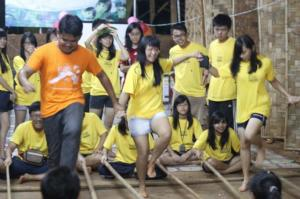 The funny performances of the volunteers in the chrildren's festival.